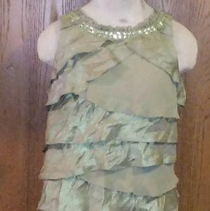 Tiered dress, green, sz:14 SL Fashions